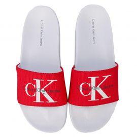 Boty Calvin Klein Jeans Womens Chantal Heavy Canvas Slide Sandals Red
