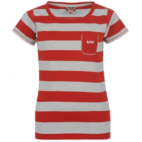Dámské tričko Lee Cooper - červeno/šedivé pruhy
