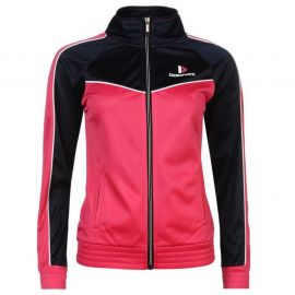 Donnay Poly Tracksuit Ladies HotPink/Wht/Nvy