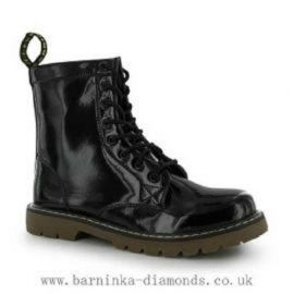 Fabric 8 Eyelet Boots Black Patent
