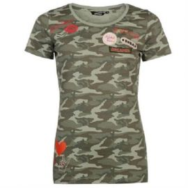 Golddigga Badge T Shirt Ladies Dark Khaki