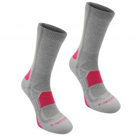 Karrimor Walking Socks 2 Pack Ladies Ligh Grey Fusch