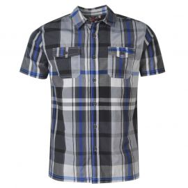 Košile Lee Cooper Cooper Short Sleeve Check Mens Shirt Blk/Wht/Cobalt