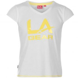 LA Gear Large Logo V Neck TShirt Girls Pink