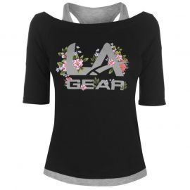 LA Gear Mock Layer T Shirt Ladies Black Floral
