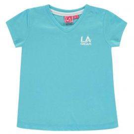 LA Gear V Neck T Shirt Junior Girls Bright Blue