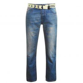 Lee Cooper Belted Jeans Mens Mid wash