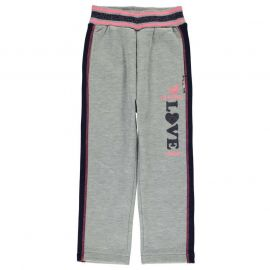 Lee Cooper Glitzy Open Hem Jogging Bottoms Infant Girls Grey Marl
