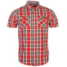 Lee Cooper Short Sleeve Check Shirt Mens Red/White/Black