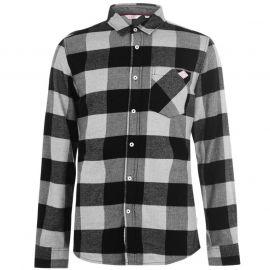 Lee Cooper Soft Long Sleeve Shirt Mens Black Check