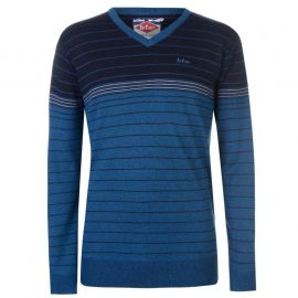 Lee Cooper Striped V Neck Jumper Mens - Blue/Navy  modrá
