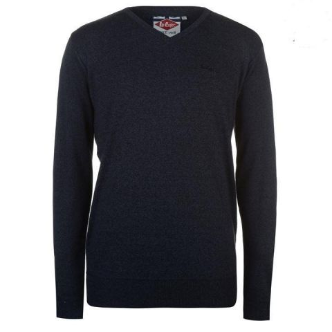 Lee Cooper V Neck Knitted Jumper Mens - Navy Marl  tmavě modrá