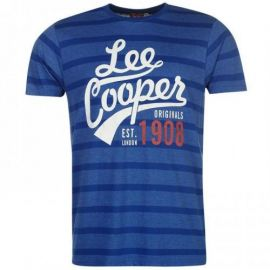 Lee Cooper Yard Crew T Shirt Mens Royal Blue