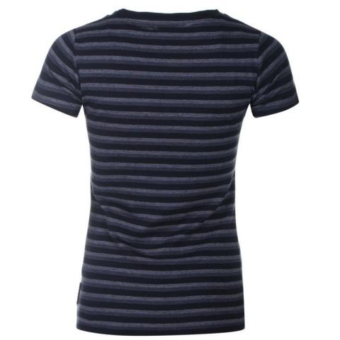 Lee Cooper Yarn Dye Crew T Shirt Ladies Navy