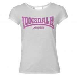 Lonsdale 2 Stripe Logo Crew T Shirt Ladies White/Purp/Teal