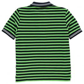 Lonsdale Stripe Polo Junior Boys Nvy/BrGreen/Wht
