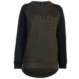 Mikina Firetrap Raglan Crew Sweatshirt Ladies Khaki/Black