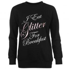 Mikina Golddigga Slogan Sweatshirt Ladies Glitter/Black