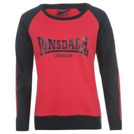 Mikina Lonsdale 2 Stripe Raglan Crew Sweatshirt Ladies Pink/Navy