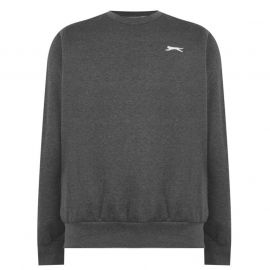Mikina Slazenger SL Fleece Crew Sweater Mens Charcoal Marl