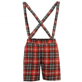 Miso All Over Print Dungaree Shorts Ladies Red/Blk Tartan