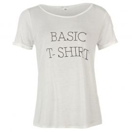 Miso Basic Slogan T Shirt Ladies White
