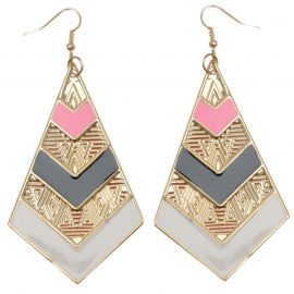 Miso Earrings Ladies Pnk/Blk Aztec