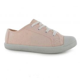 Miso Mini Broid Canvas Pumps Child Girls Pink růžová