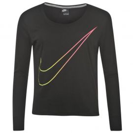 Nike Swoosh Long Sleeve T Shirt Ladies Black