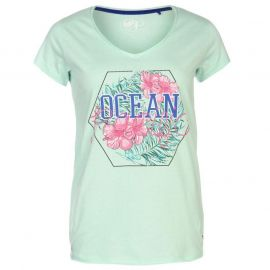 Ocean Pacific Pacific Graphic V Neck T Shirt Ladies Aqua