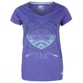 Ocean Pacific Pacific Graphic V Neck T Shirt Ladies Purple
