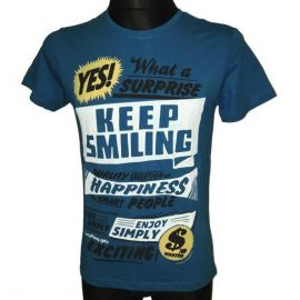 Pánské tričko Keep Smiling krátkým rukávem modrá