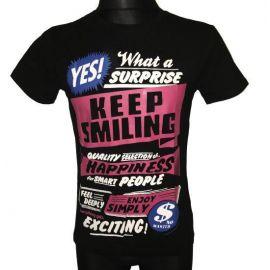 Pánské tričko Keep Smiling s krátkým rukávem černá