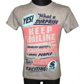Pánské tričko Keep Smiling s krátkým rukávem šedá