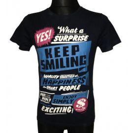 Pánské tričko Keep Smiling s krátkým rukávem tmavě modrá