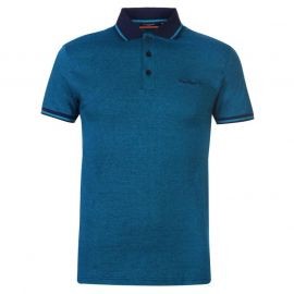 Pierre Cardin Pin Stripe Polo Shirt Mens Navy/Teal