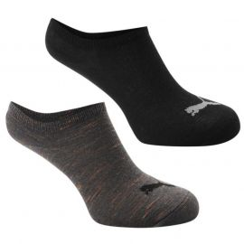 Puma Invisible 2 Pack Trainers Socks Black/Grey