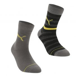 Puma Stripe 2 Pack Junior Crew Socks Grey