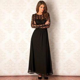 Šaty Clubl Womens Crochet Long Sleeve Maxi Dress Black