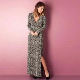 Šaty Clubl Womens Lurex Printed Maxi Dress Black