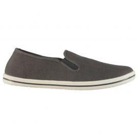 Slazenger Mens Slip On Canvas Shoes Charcoal