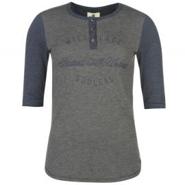 SoulCal Raised With Wolves T Shirt Ladies Grey/Navy