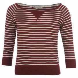 SoulCal Stripe T Shirt Ladies W White/Merlot