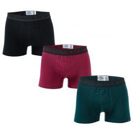 Spodní prádlo Ben Sherman Mens Windsor 3 Pack Boxer Shorts black green