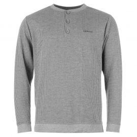 Tričko Donnay Ribbed Y Neck T Shirt Mens Grey Marl