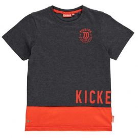 Tričko Kickers Printed T Shirt Junior Boys Charc M/Red
